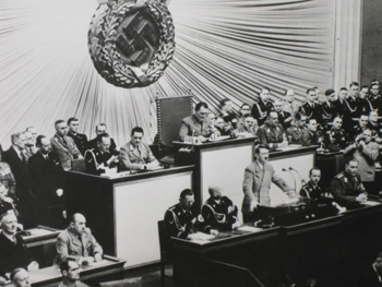 Hitler addressing the German Reichstag in 1938